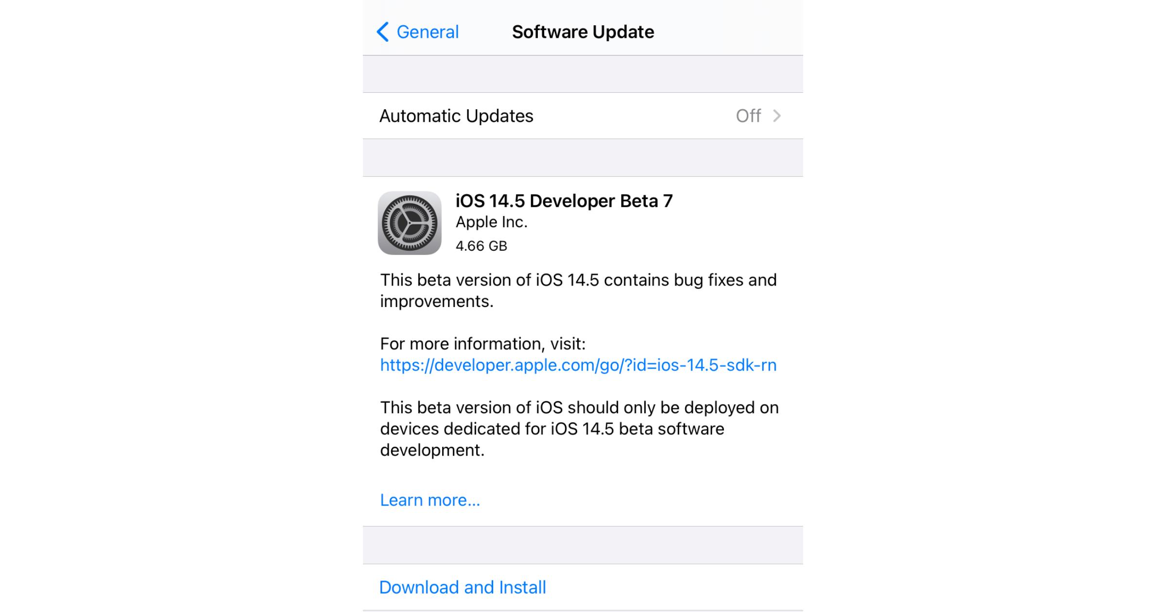 iOS 14.5 dev beta 7