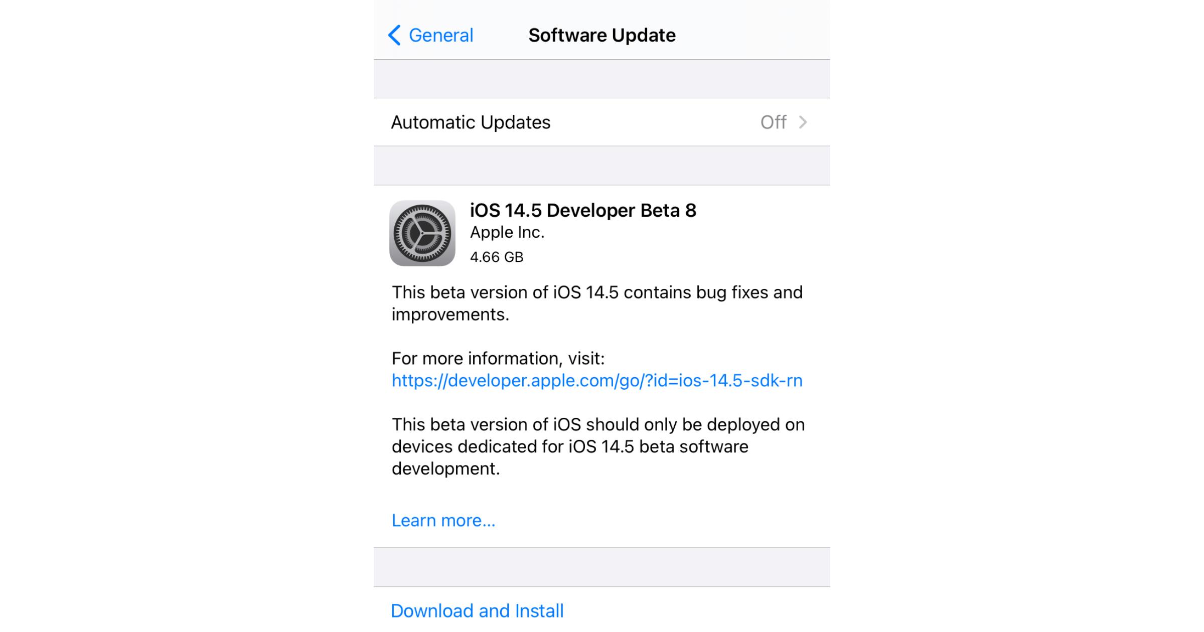 iOS 14.5 developer beta 8
