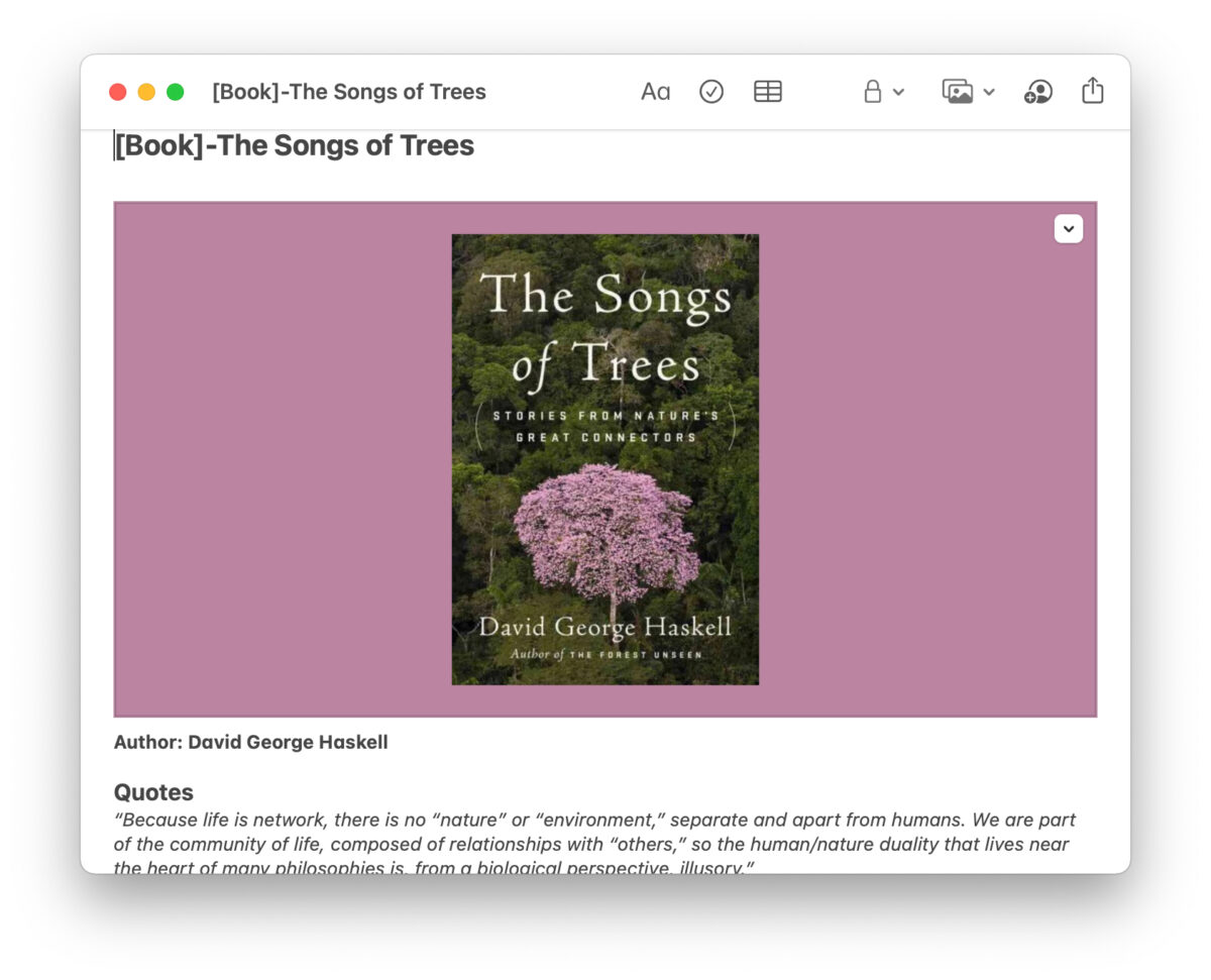 songs of trees note