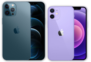 iPhone 12 Pro Max (left) and iPhone 12 mini (right).