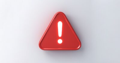 3D red alert sign