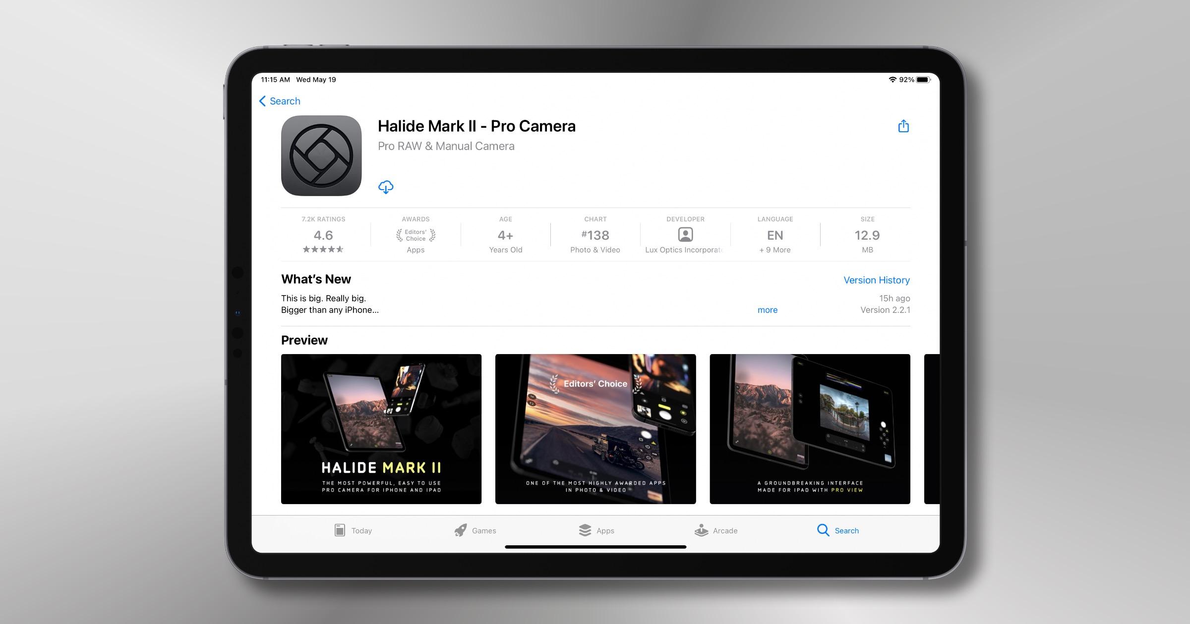 Halide camera app for iPad
