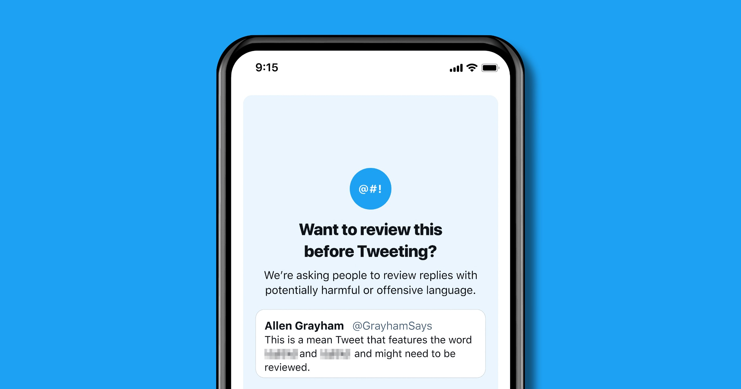 Twitter review tweets feature