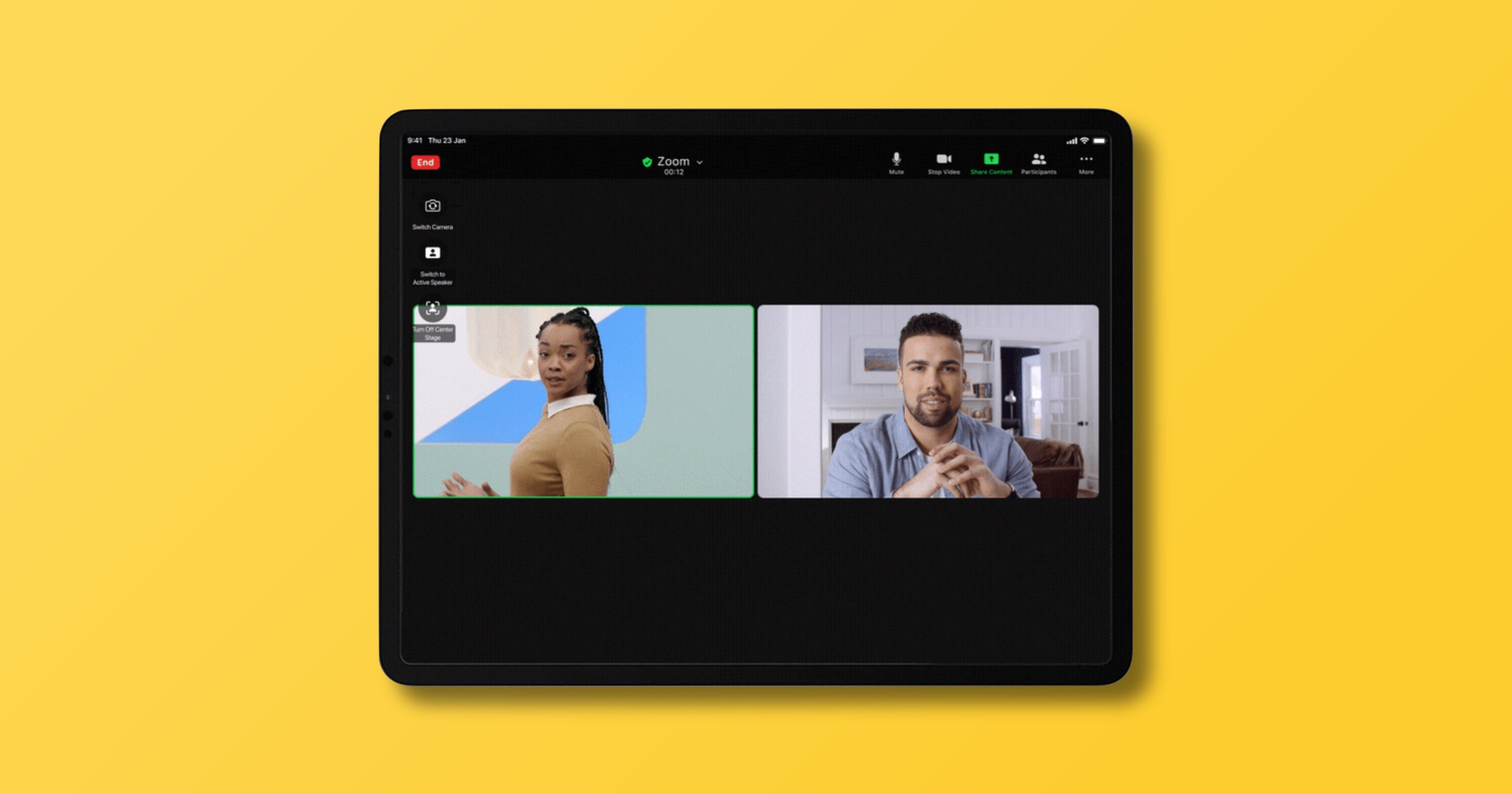 Zoom supports iPad center stage