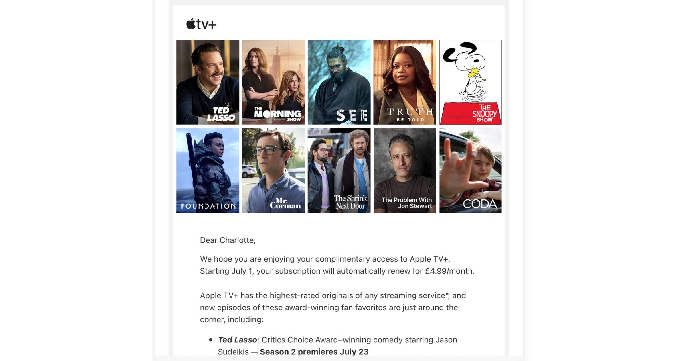 Apple TV+ renewal email