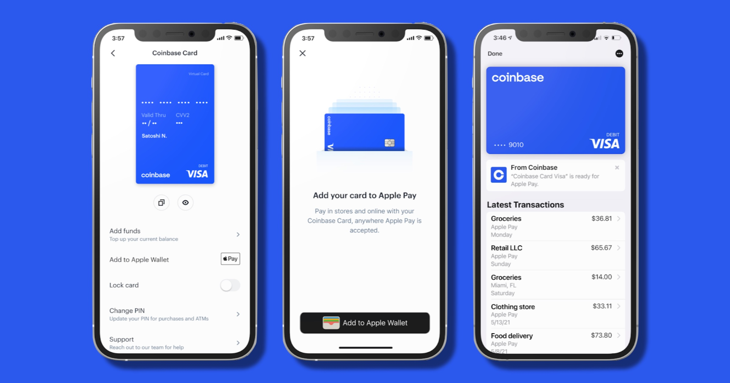 Coinbase card in apple wallet