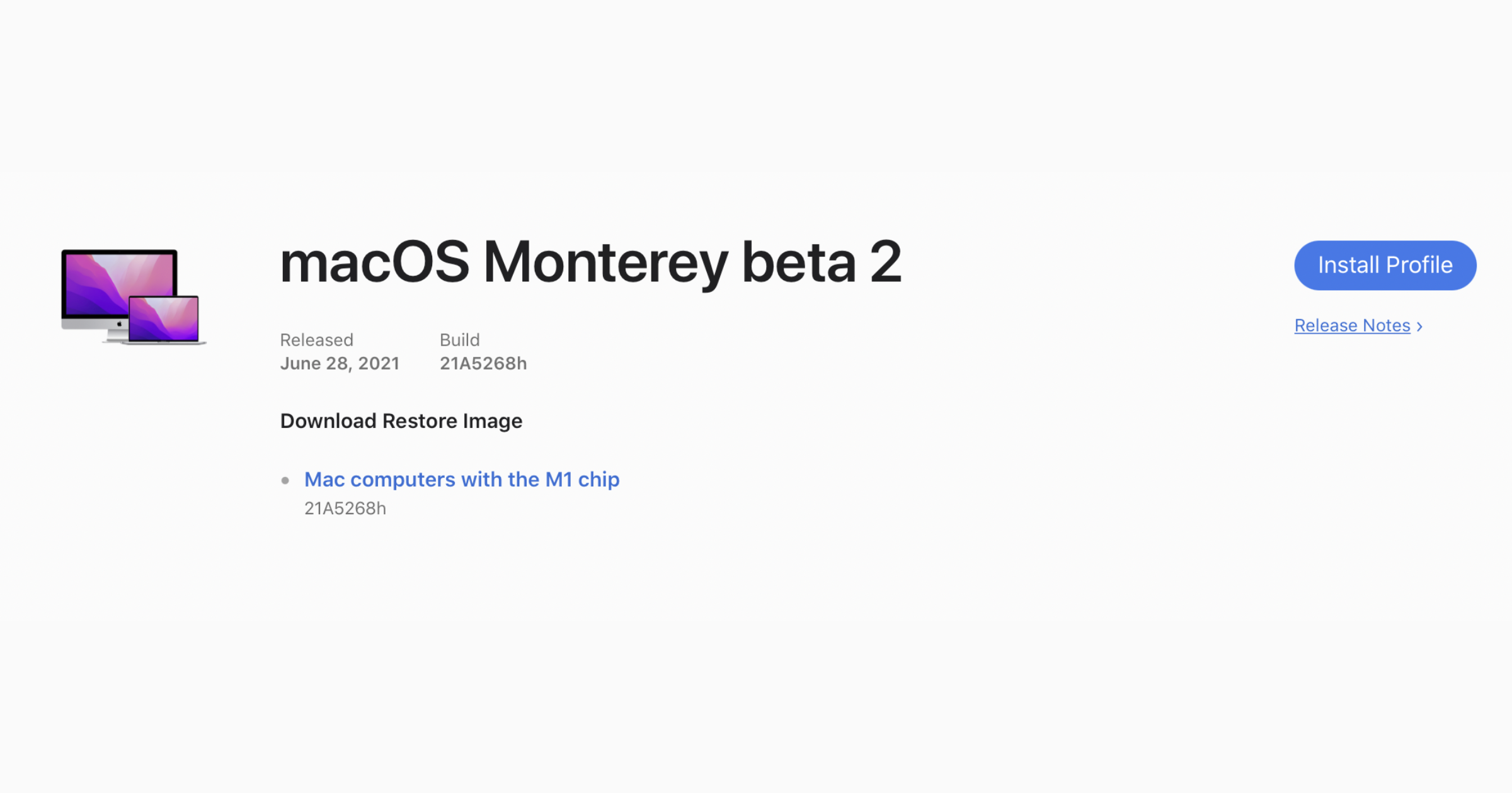 macOS Monterey Developer Beta 2