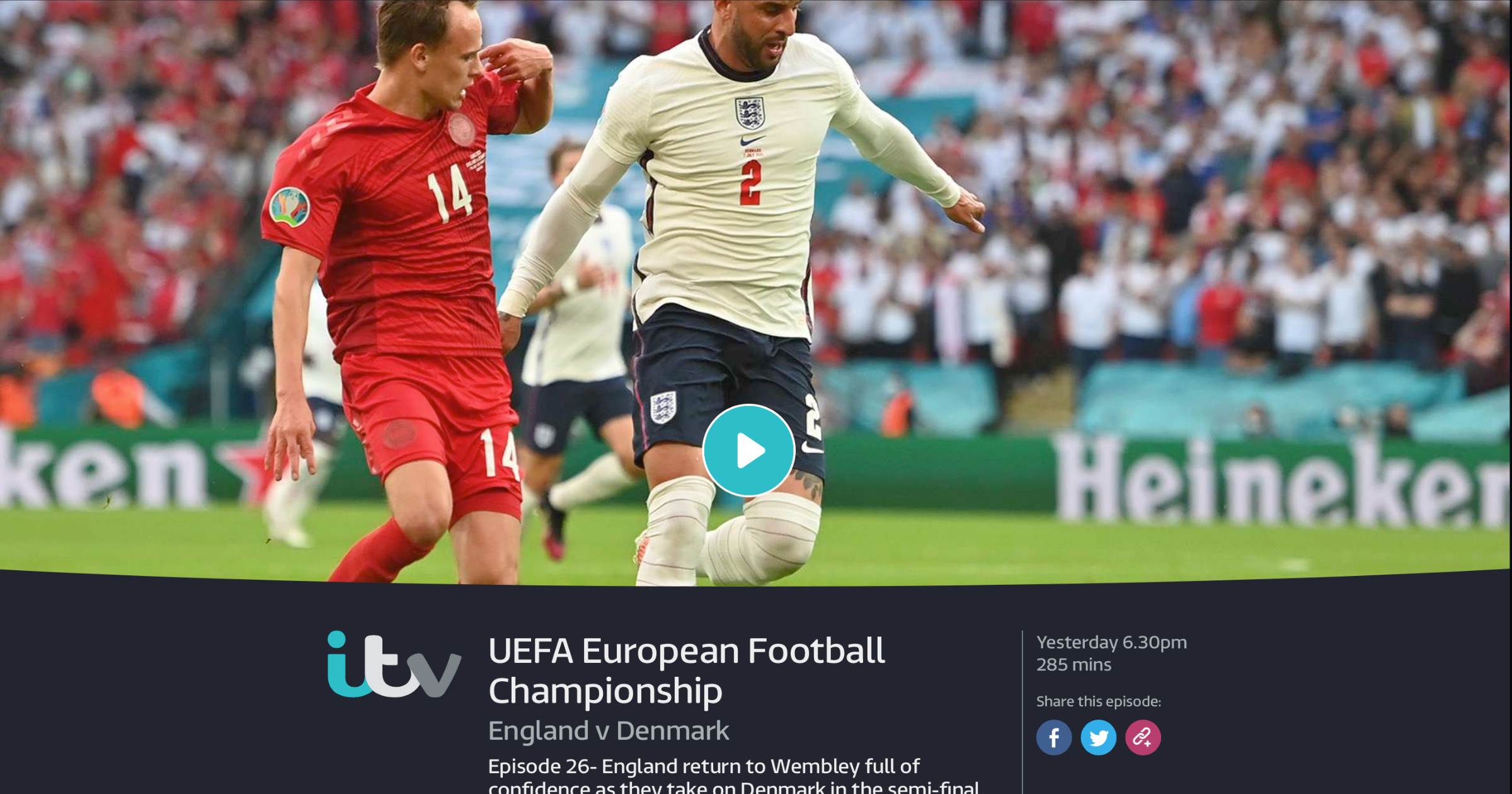 ITV England vs Denmark