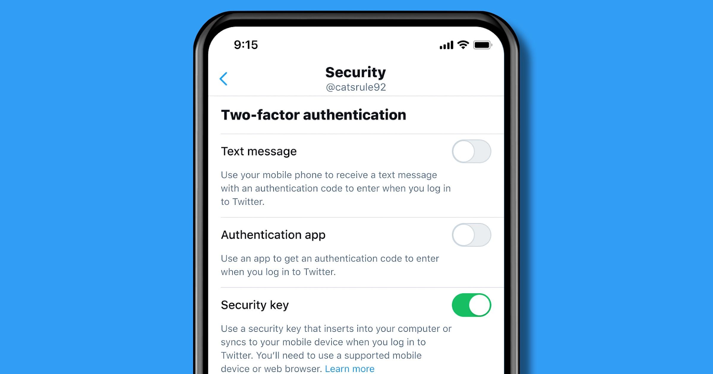 Twitter 2FA security keys