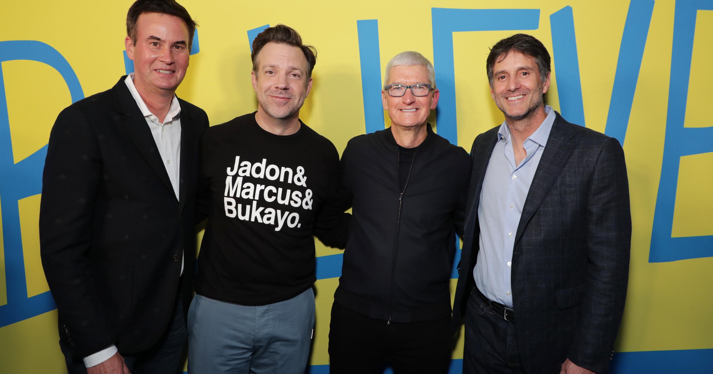 Zack Van Amburg Jamie Erlicht Jason Sudeikis Tim Cook at Ted Lasso season two premiere