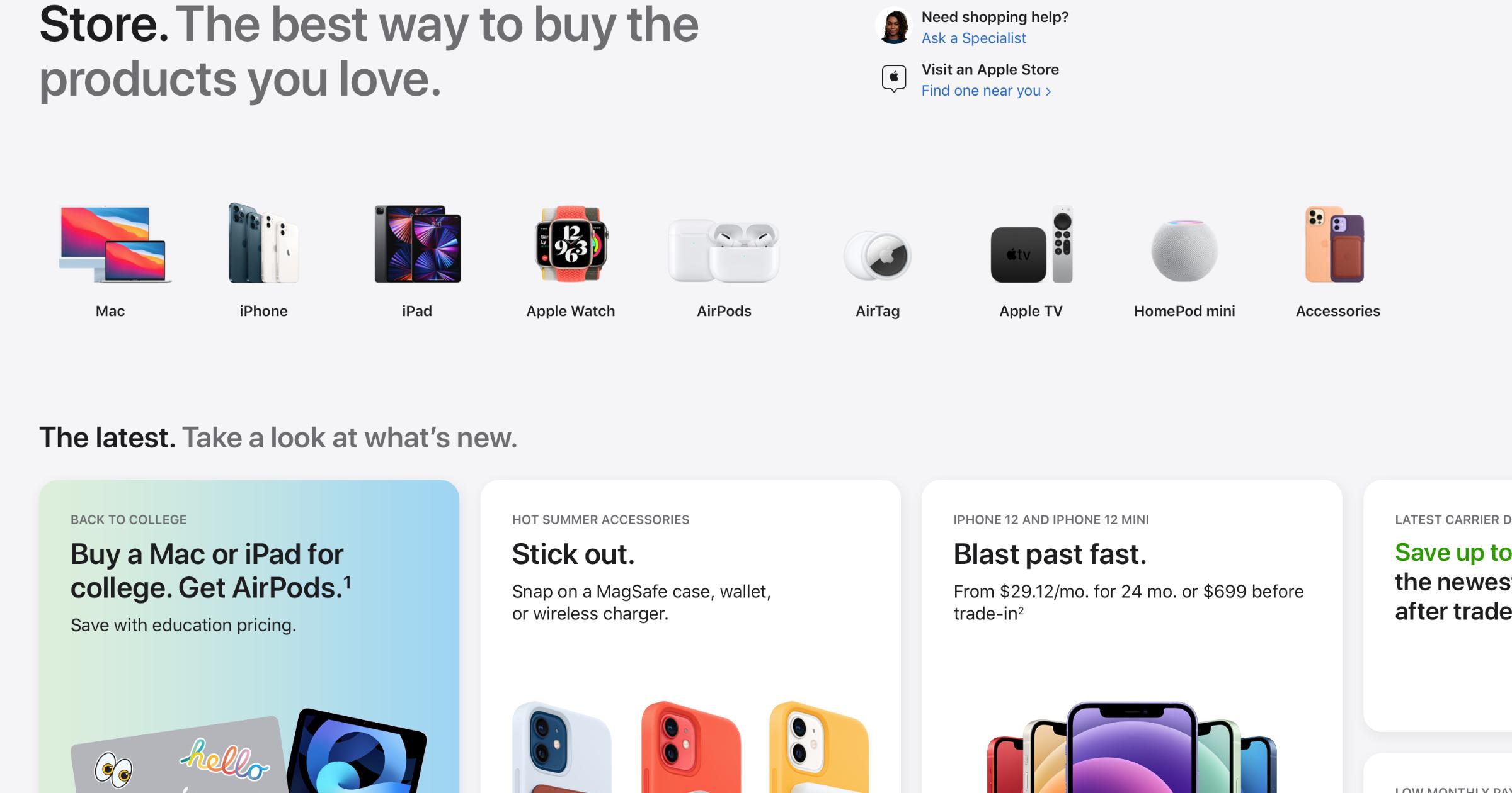 Apple Online Store redesign