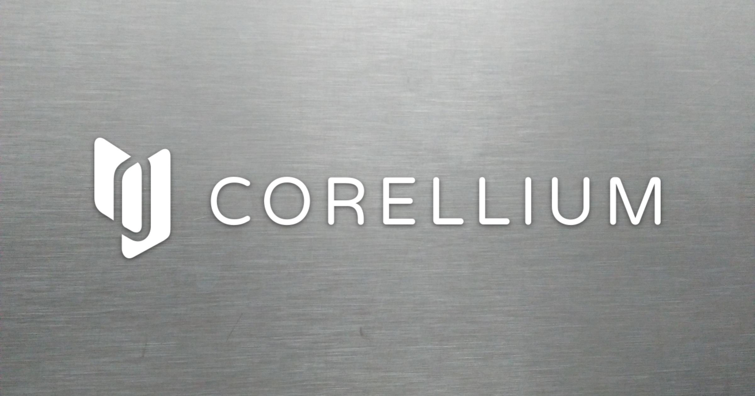Corellium logo on metal