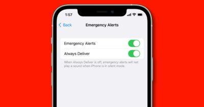 Emergency alerts in iOS settings