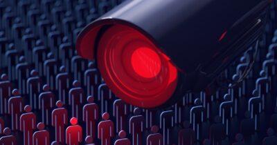Surveillance camera spying on people