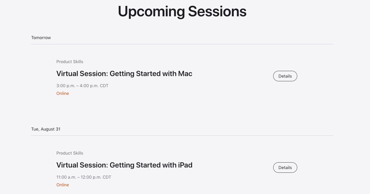 Today at Apple Available Sessions