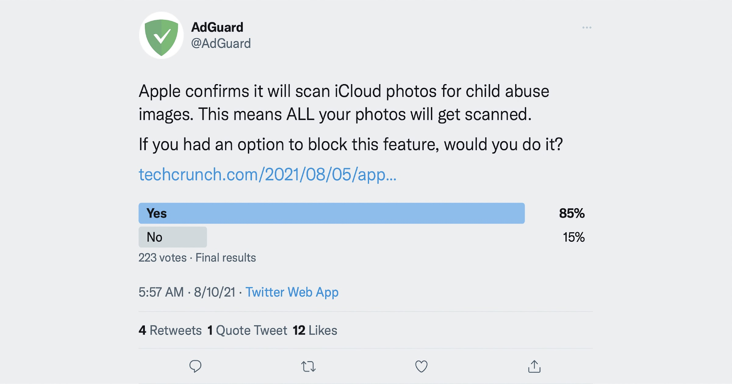 adguard CSAM detection twitter poll