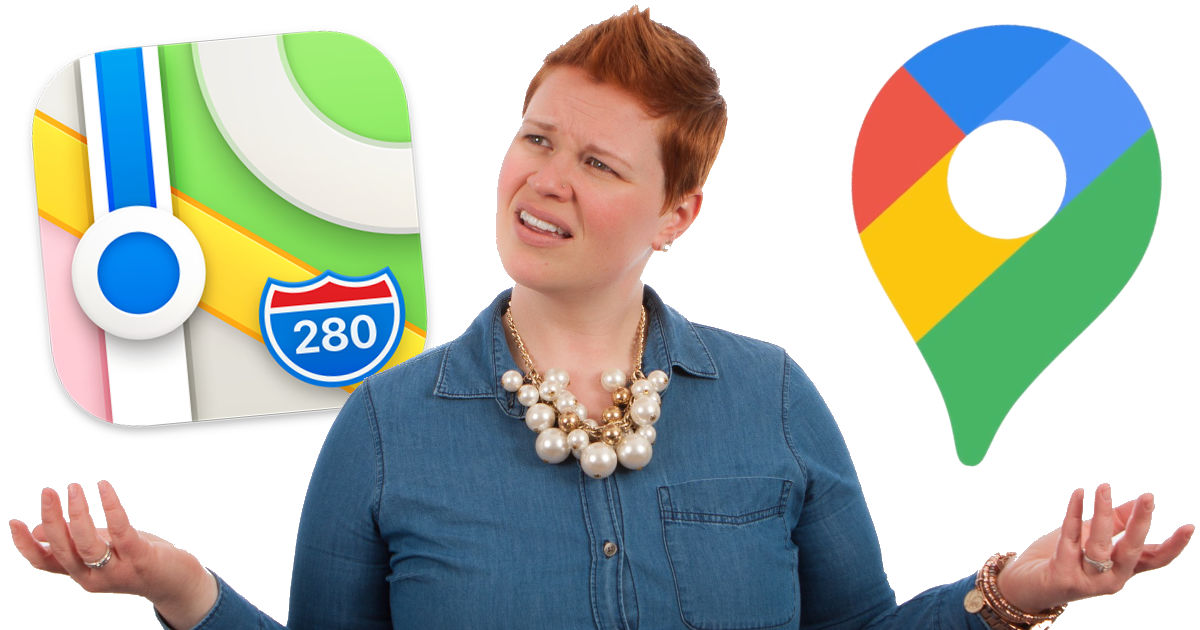 woman confused about Apple Maps and Google Maps