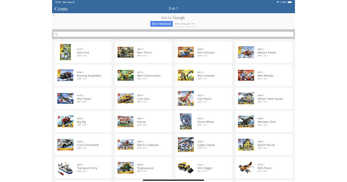 Brick by Brick app showing LEGO building instructions