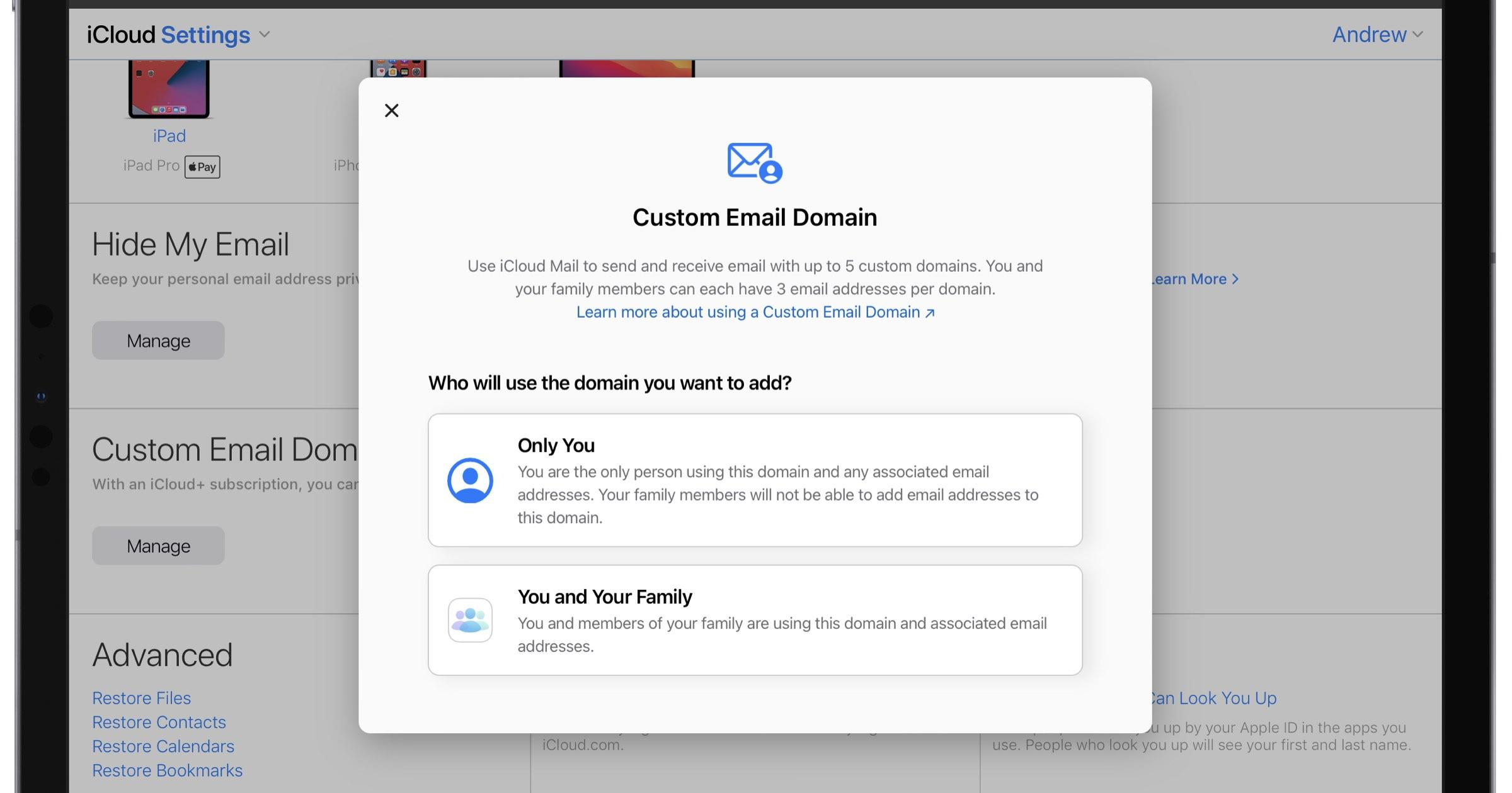 iCloud+ custom domain