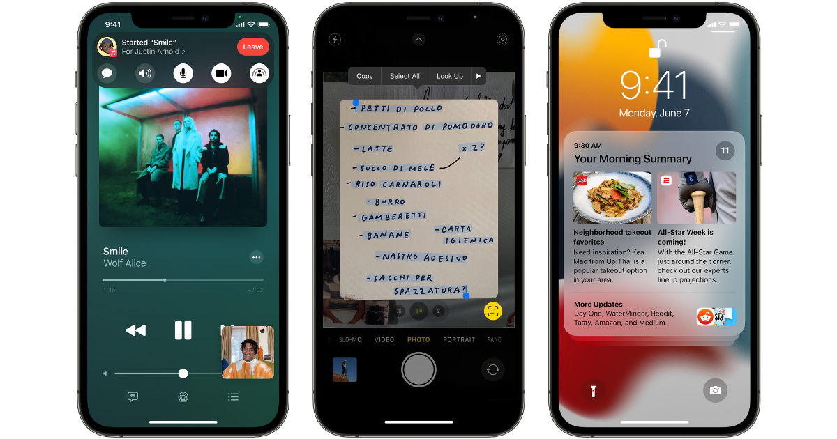 iOS 15 features shown on 3 iPhones
