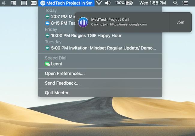 Meeter menu bar item showing upcoming web meetings
