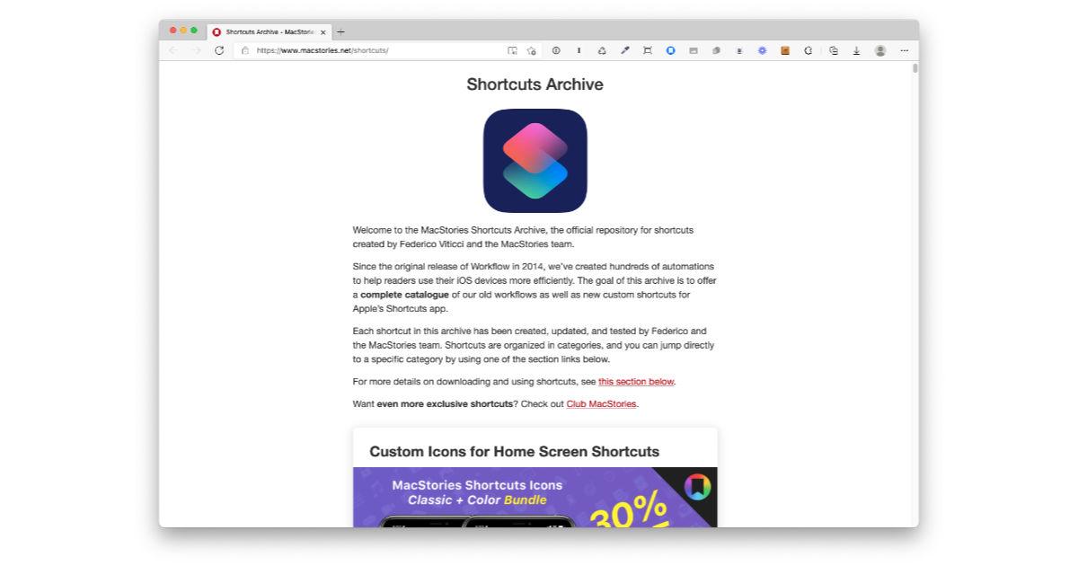 MacStories website showing its Shortcuts library
