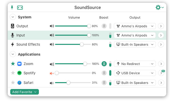 SoundSource showing audio settings for Mac apps