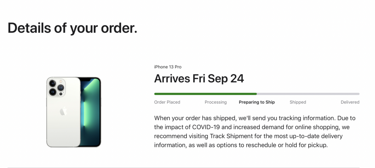 iPhone 13 Pro Shipping Timeline