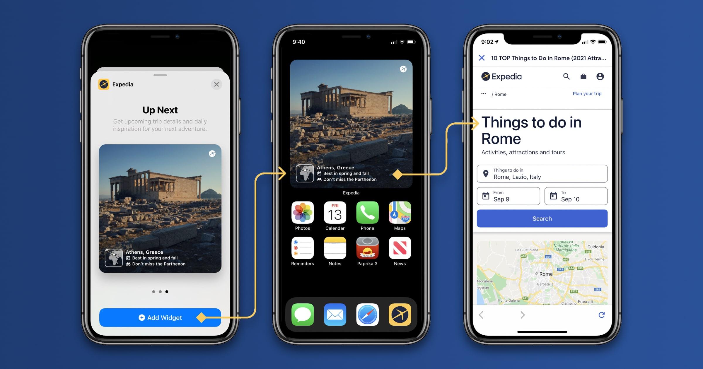 expedia group app widgets