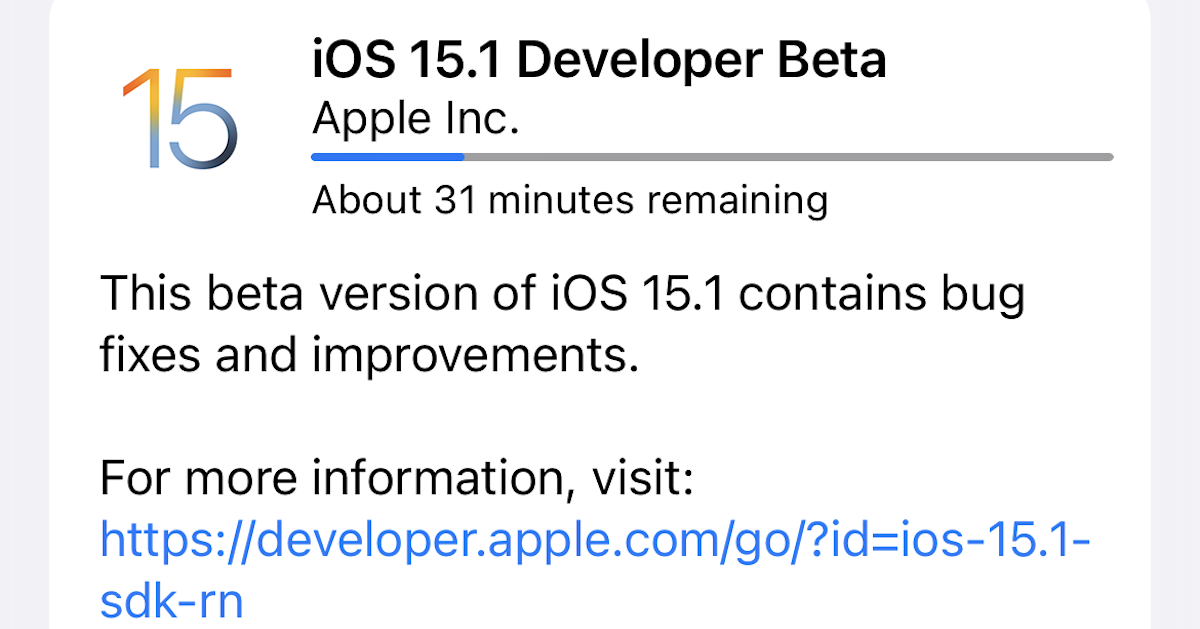 ios 15.1 developer beta