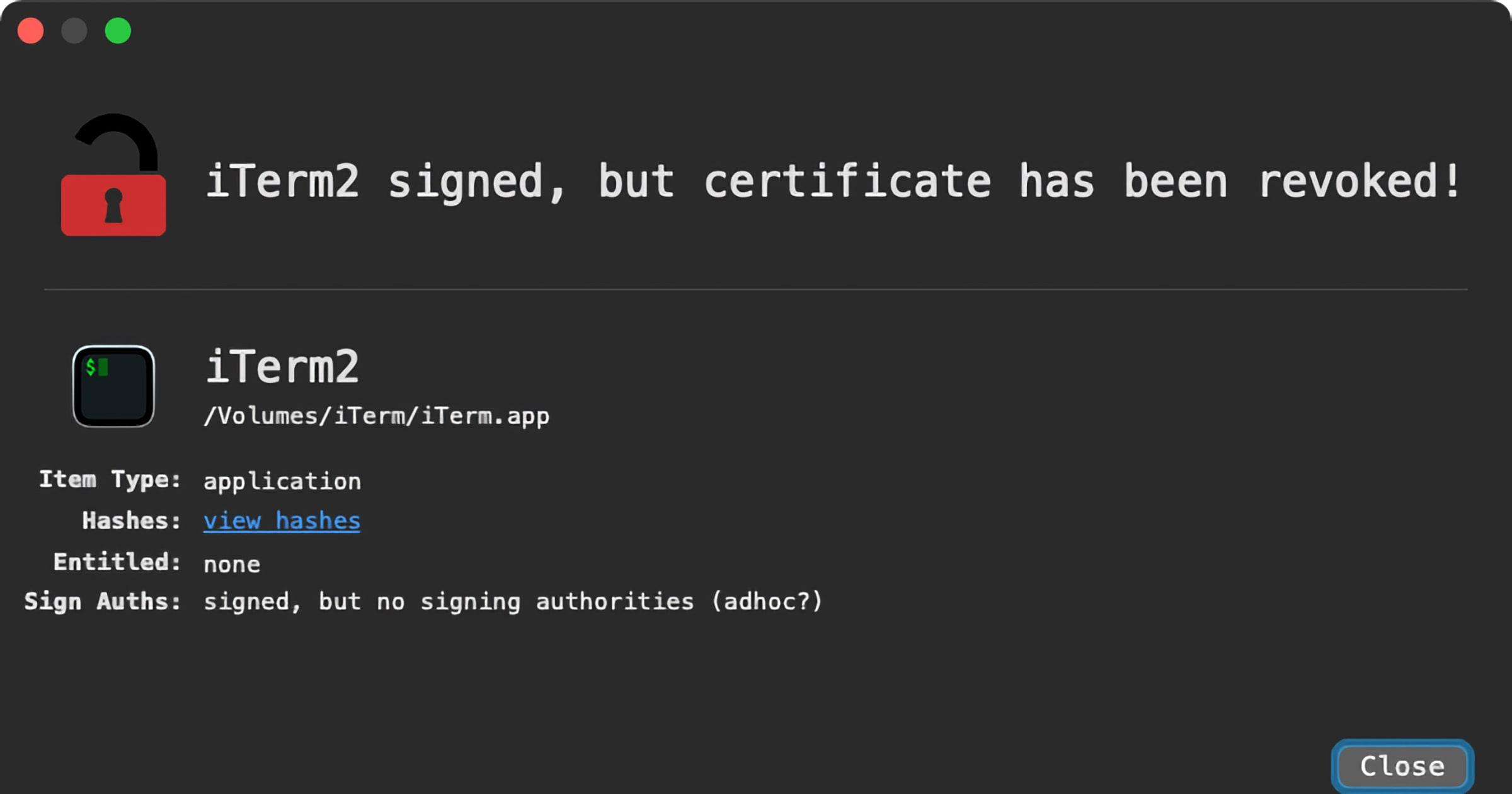 malicious iterm2 app with OSX Zuru malware