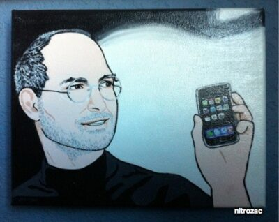 Image of Steve Jobs holding an iPhone, by Nitrozac of Joy of Tech