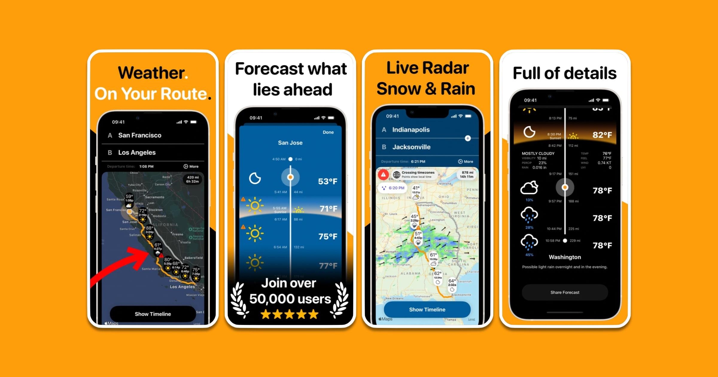 'Weather on the Way' App Update Brings Departure Time Slider