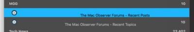 MGG RSS feed in Leaf, wide sidebar.
