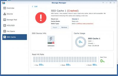 Synology SSD Cache Crashed