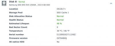 Synology SSD estimated Lifespan