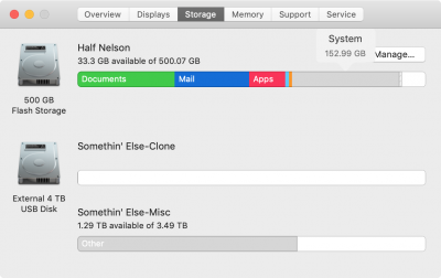 Daves System Storage Usage