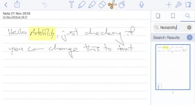 notability handwriting search